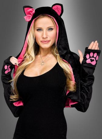 Katzenkostüm Bolero schwarz-pink