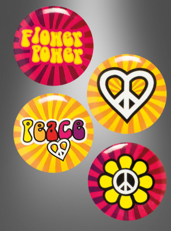 Hippie Buttons zum Anstecken 4er Set