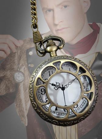 Steampunk Taschenuhr gold mit Uhrenkette