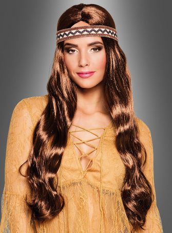 Brown Long Hair Wig with Headband