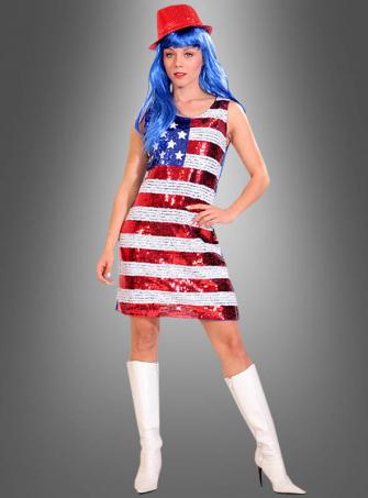 Paillettenkleid USA Flagge