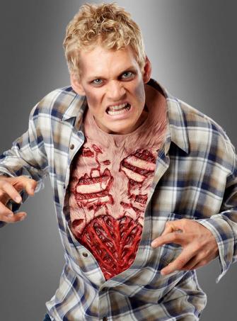 Zombiebrust Hemdeinsatz für Horrorkostüm