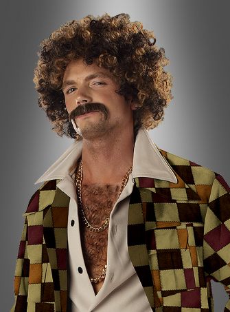 70s Curly Head Wig Disco and Moustache