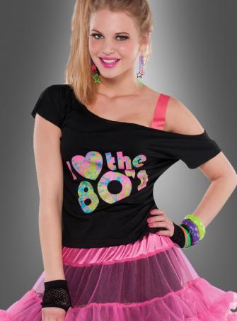 80er Shirt Damen schwarz