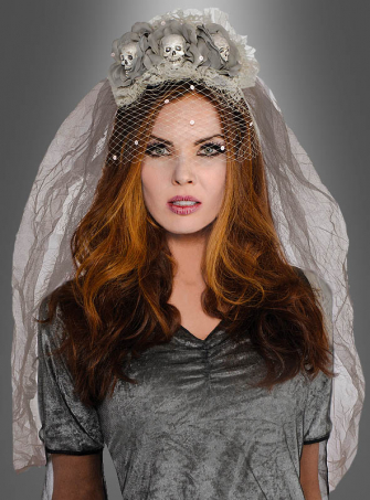 Ghost Bride Headband with Skulls