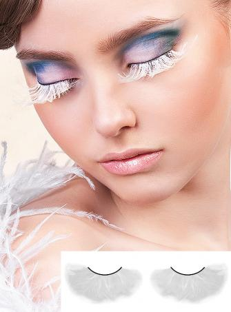 White Feather Eye Lashes