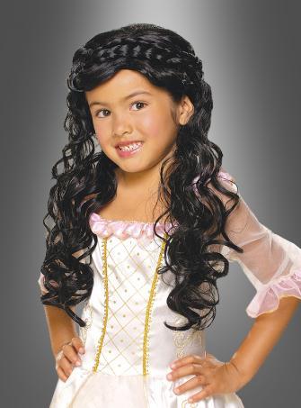 Prinzessin Perücke SCHWARZ Mädchen