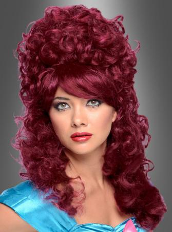 Curly Burlesque Wig dark red