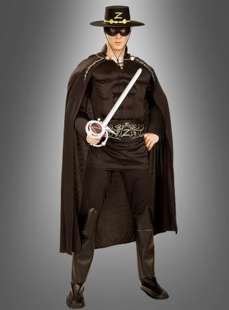 Deluxe Zorro Kostüm mit Muskelshirt Erwachsene