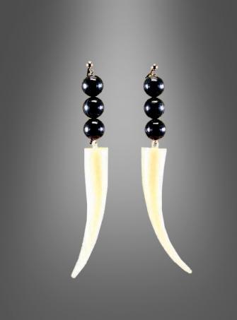 Zahn-Ohrringe zum Steinzeit Vodoo Kostüm