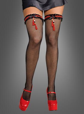 Geisha Netzstrümpfe mit Strumpfband schwarz