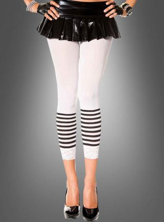 White Capri Leggings with Stripes