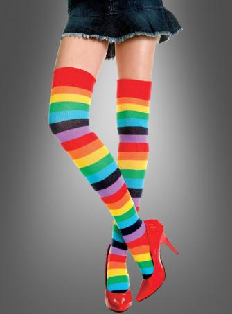 Colorful Rainbow Stiped Thigh Hig