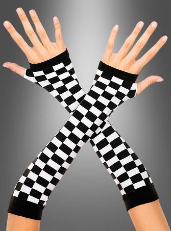 Fingerlose Schachbrett Handschuhe