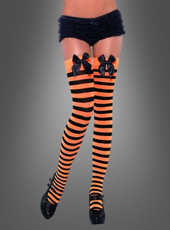 Tights black-orange with bow