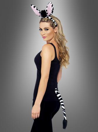 Zebra Set mit Schwanz und Ohren