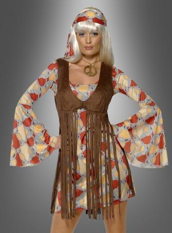 Hippy Dress with Fringe Waistcoat 60s Costume