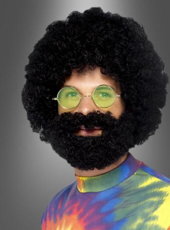 Schwarze Afro Perücke mit Bart