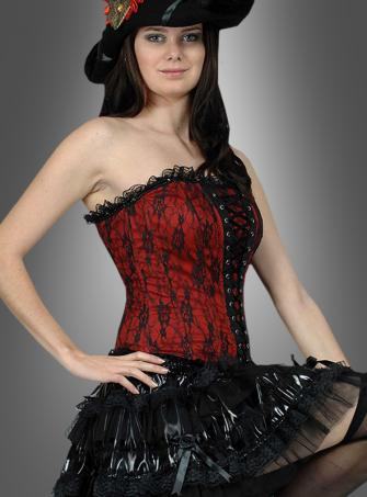 Corsage Lace black red