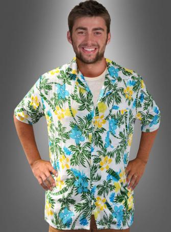 Hawaiihemd Palmenstrand weiß