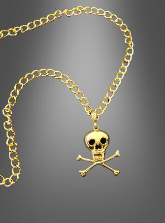 Piraten Totenkopf Kette gold