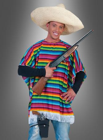 Poncho Mexikaner bunt gestreift