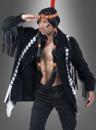 Indianer Jacke schwarz mit Fransen