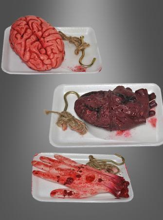 Gehirn, Hand oder Herz  Halloweendeko