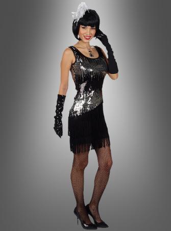 Charleston Paillettenkleid schwarz silber