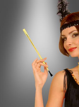 Goldener Zigarettenhalter für 20er Jahre Kostüm