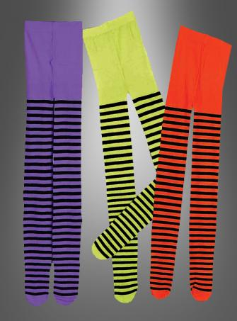 Striped Tights for witches adult purple-black