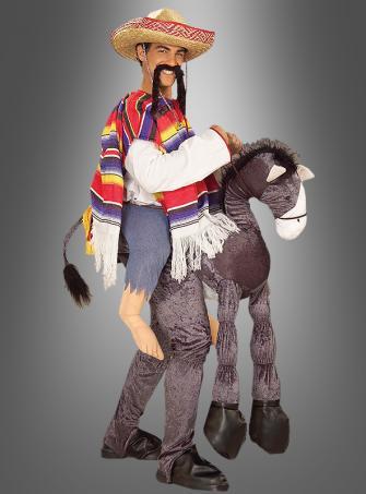 Mexikaner Amigo auf Esel Spaßkostüm mit Sombrero