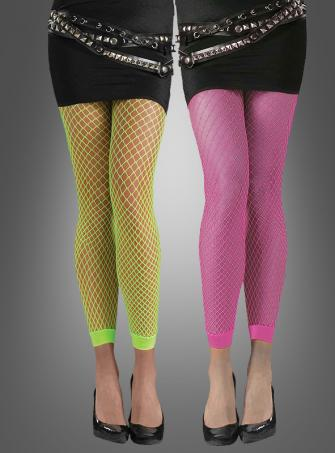Neon Leggings Footless Fishnet