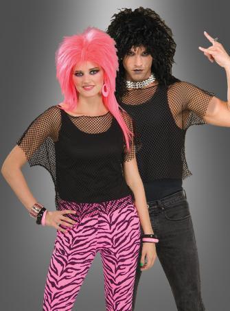 Netz Top schwarz für Rocker Punk Kostüm