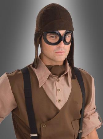 Fliegerset Steampunk Brille und Haube