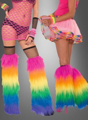 Plüsch Beinstulpen Regenbogen