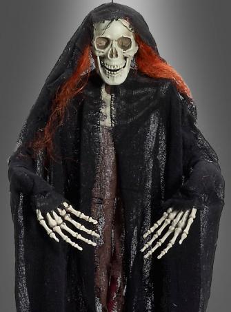 Skelettdeko mit roten Haaren 85 cm