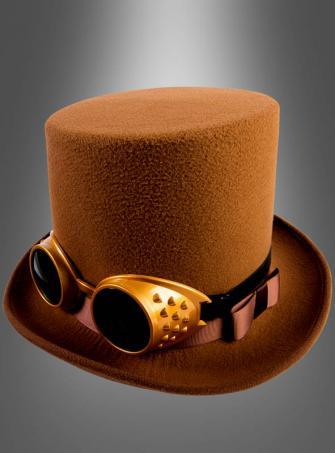 Brown Steampunk Top Hat with Goggles