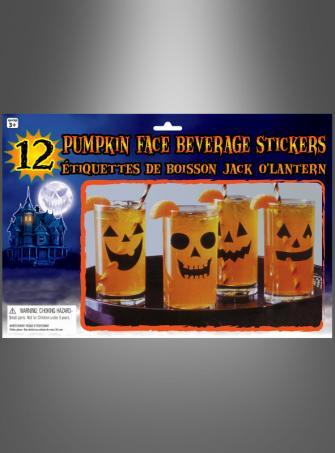 Kürbisgesicht Sticker für 12 Trinkgläser