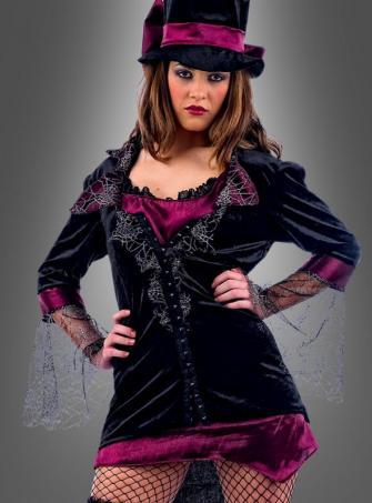 Sexy Vampirin Kostüm mit Zylinder