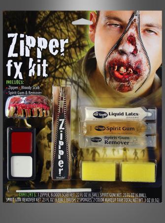 Zombie Make-up Reissverschluss Set