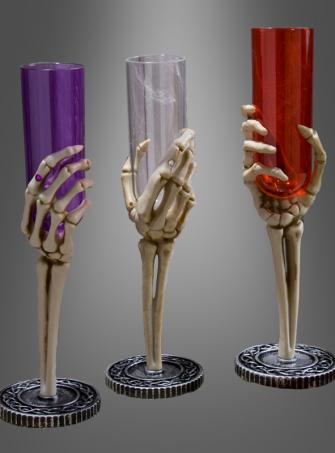 Skeleton Hand Fluted Glass