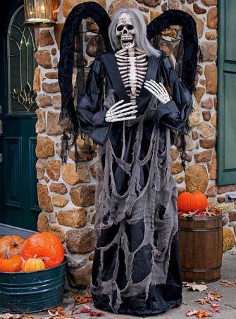 Skelett Engel Standdeko schwarz 180 cm