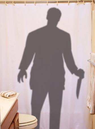 Duschvorhang Badezimmer Mörder