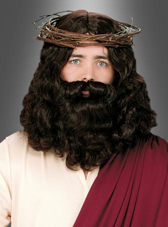 Jesus Vollbart und Perücke