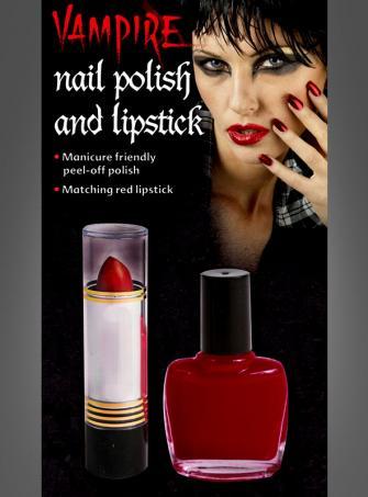 Vampir Lippenstift und Nagellack rot