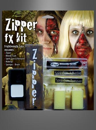 Reissverschluss Horror Make Up Set