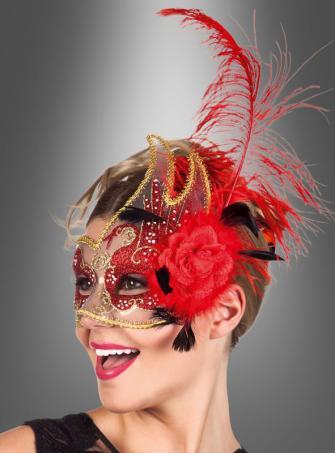 Elegante Augenmaske mit roter Feder