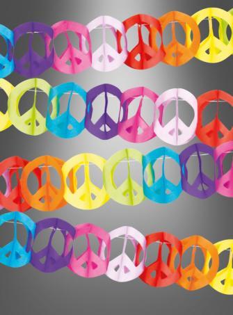 Hippie Partydeko Peace Girlande 4 Meter