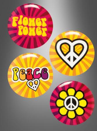 Hippie Buttons 4 pc